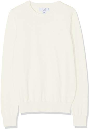 MERAKI Women's Cotton Crew Neck Sweater,  Off-White (Ivory), M (US -