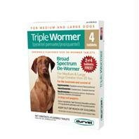 Durvet/pet D-Triple Wormer Chewable Dog Dewormer Tablets Over 25 Lb/4 Pk