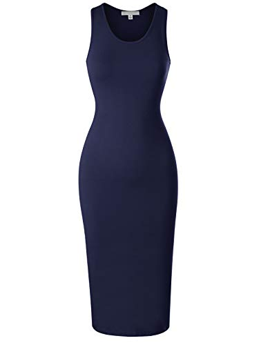 Design by Olivia Women's Sleeveless Scoop Neck Racerback Tank Bodycon Pencil Midi Dress Navy Blue - Apron Neck Scoop