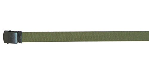 Cotton Canvas Military Web Belts, Olive Drab/Black Buckle