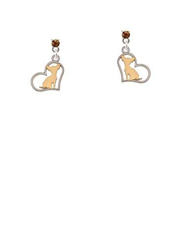 Earrings Two Brown Tone (Two-tone Chihuahua Silhouette Heart Brown Crystal Post Earrings)