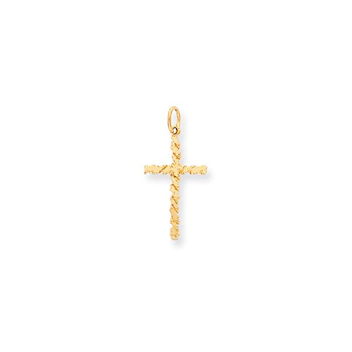 (10k Yellow Gold Solid Satin Textured NUGGET Cross Charm)
