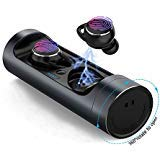 True Wireless Earbuds, CircleWin Bluetooth 5.0 Wireless Earbuds with Bass, Built-in Mic, Touch Control and Rotatable Charging Case, 21H Playing Time, Compatible with iPhone/Android(Black) ()