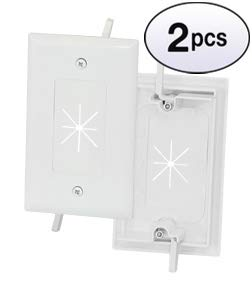 GOWOS (2 Pack) 1-Gang Feed-Through Wall Plate with Flexible Opening, White