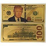 Authentic $100 President Donald Trump Authentic 24kt Gold Plated Commemorative Bank Note Collectors Item by Aizics Mint ()