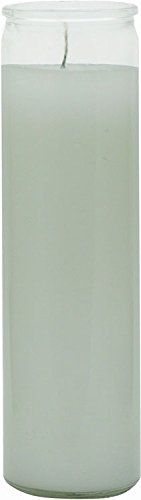 "INDIO 7 Day Glass Plain Color Glass Candles 8"" Tall - White"