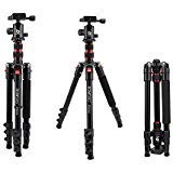 BONFOTO B690A Lightweight Aluminum Tripod Portable Travel Camera Stand with 360 Degree Ball Head and Carry Bag, Tripods for Canon Nikon Sony DSLR