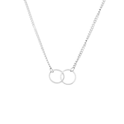 Infinite Double Circle Pendant Necklace,Interlocking Double Rings Necklace,Mother Daughter Necklace,Friendship Necklace ,Sister Necklace,Family Necklace for Eternity (Silver)