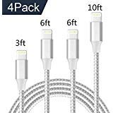 Aitaton Phone Charger Cable,4 Pack(3FT 6FT 6FT 10FT) USB Syncing and Charging Cable Data Nylon Braided Cord Charger Compatible with Phone X/8/8 Plus/7/7 Plus/6/6 Plus/6s/6s Plus and More(Silver)