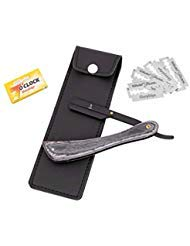 Pure Wood Black Cut Throat Straight Edge Shaving Razor (coolcut) + Free Stylish Black Pouch with + Free 50 7'O Clock Single Sharp Edge Blades (Black Wood) by DJ International Gear