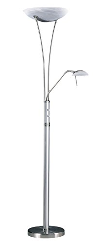 Kendal Lighting TC4035-SN/BAL 72-Inch Portable Torchiere Floor Lamp with Reading Light, Satin Nickel and Brushed Aluminum with Faux Alabaster Glass - Faux Alabaster