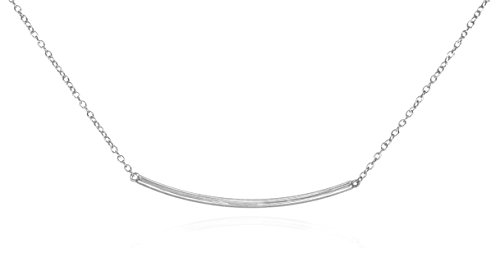 Silver Bar Necklace .925 Sterling Silver Curved High Polished Horizontal Fine Chain 16