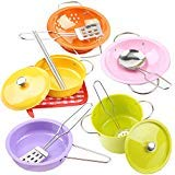 KYToy Colorful 13PCS 6.8'' Pretend Play Kitchen Cookware Set Stainless Steel Pots and Pans Toys Drainer Utensils Chopsticks Kitchenware Accessories for Kids(666-A1) by KYToy