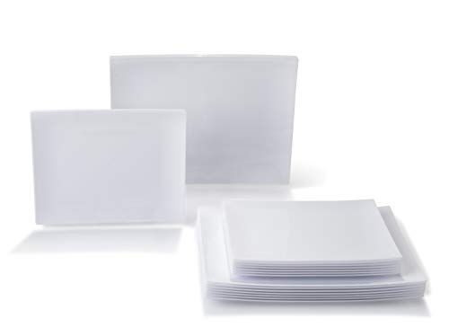 - OCCASIONS 240 Piece / 120 guest Disposable Japanese Style/Sushi Plastic Plates Set - 120 x Small Dinner + 120 x Salad/Dessert Plate (Asia, White)