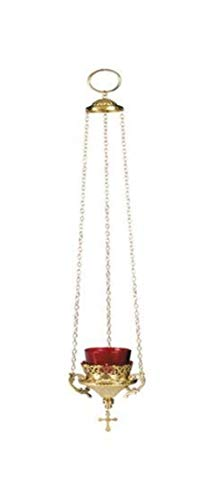 Hanging Votive Glass Candle Holder with Red Glass, 24 Inch