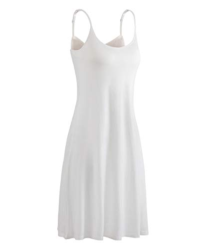 HONFON Womens U Neck Superelastic Camisole Built in Padded Bra Full Slip Adjustable Spaghetti Strap White