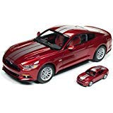 2017 Ford Mustang 5.0 GT Ruby Red Metallic with Silver Stripes 1/18 and 1/64 2 Cars Set Limited Edition to 1002 pieces Worldwide Diecast Model Cars by Autoworld AW245