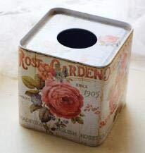 StrongSK Tissue Boxes - Flower Square Tin Tissue Paper Box Paper Towel Box Tissue Holder Tissue Box Cover Kitchen Storage Organization NL 011 1 PCs