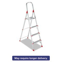 Louisville L234604#566 Folding Aluminum Euro Platform Ladder, 4-Step, Red
