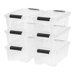 IRIS 12 Qt. Stack & Pull Plastic Storage Box, Clear Set of 6