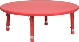 45'' Round Height Adjustable Plastic Activity Table Red