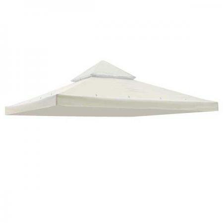 12 X 12 Ft Garden Patio Canopy Two Tiered Gazebo Replacement Canopy Top Ivory White by KOVAL INC.
