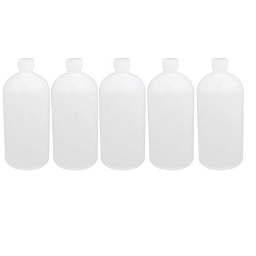 uxcell 5Pcs 1L HDPE Plastic White Narrow Mouth Liquid Chemical Reagent Sample Bottle Container Storage