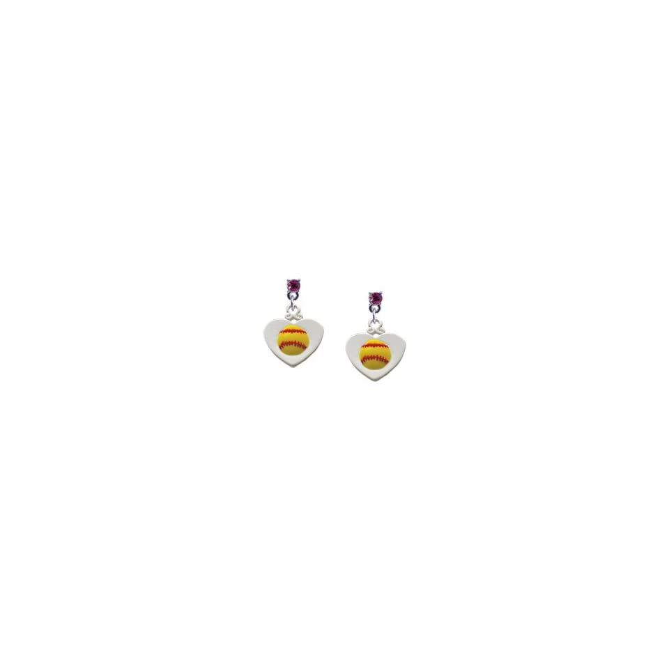 Softball in Heart Hot Pink Swarovski Post Charm Earrings
