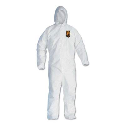 Kimberly-Clark 44325 KleenGuard A40 Liquid & Particle Protection Coverall with Hood, 4, White, XXL (Pack of 25)