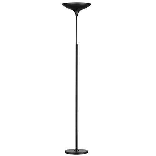 Globe Electric 3000, White Satin, 1x Integrated Bulb, LED Floor Lamp Torchiere, Energy Star Certified, Dimmable, Super Bright, 43W, 3010 Lumens, Matte Black Finish 12784
