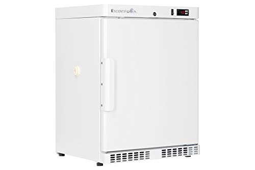 Scientific Refrigerator by K2 Scientific | For Laboratory Equipment | 4 Cu. Ft. | Undercounter or Freestanding Style | Solid Door | Intelligent Microprocessor Controls | Adjustable Temperature Control