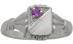- 10 Karat White Gold Genuine Amethyst Rectangular Gemstone Baby Ring - SIZE 4
