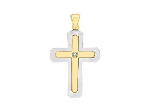 Jewellery World Bague en or jaune 9carats et diamant Mère de perle pendentif croix