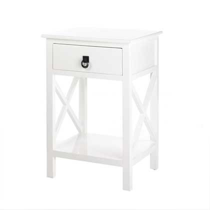 Modern White Glossy X-Frame Side Table (Furniture Console Classics Table Ltd)