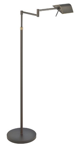 Holtkoetter 9602LED Two-Tone LED Swing-Arm Floor Lamp with Two Independent Dimmers, Hand-Brushed Old Bronze (Brushed Old Bronze Lamp Floor)