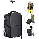 Neewer 2-in-1 Wheeled Camera Backpack Luggage Trolley Case – Anti-Shock Detachable Padded Compartment, Hidden Pull Bar and Strap, Durable, Waterproof for Camera, Tripod, Lens for Air Travelling