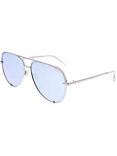Quay Australia HIGH KEY Men's and Women's Sunglasses Classic Oversized Aviator - Silver/Blue -