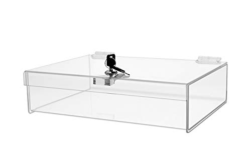 "Marketing Holders Rectangular Locking Countertop Tray 12"" W x 8"" D x 2-3/4""H Jewelry Display Case Swap Meet Tabletop Display Display Case"