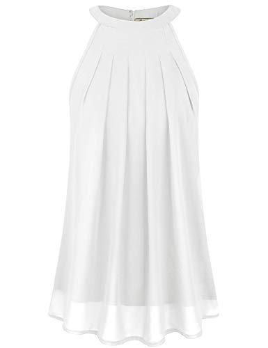 Cyanstyle Women's Halter Tank Tops Sleeveless Chiffon Shirt Summer Casual Tunic Blouse White XXL