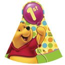 Pooh Hat (Winnie the Pooh Balloon 1st Birthday Paper Cone Hats (8ct))