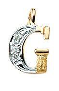 Lettre pendentif G avec Zirconium en or 585or 14carats