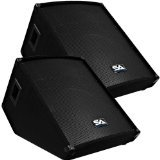 Seismic Audio - Pair of 15'' Floor Wedge Style Monitors - Studio, Stage, or Floor use - PA/DJ Speakers by Seismic Audio