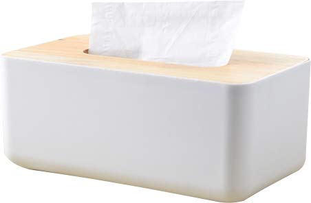 - Cq acrylic Rectangular Plastic Facial Tissue Box Napkin Holder for Home and Office, White