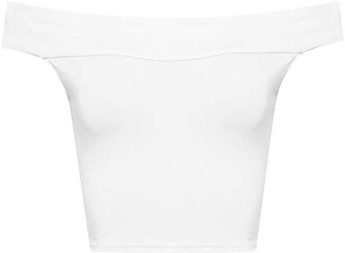 WearAll Women's Off Shoulder Plain Short Crop Bandeau Open Cowl Neck Top - White - US M/L=8-10 (UK 12-14)