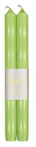 Caspari - Fancy 10-Inch Taper Dripless, Smokeless, Candlesticks, Spring Green, Set of 2