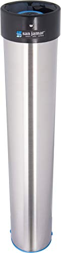 San Jamar Wall Mount - San Jamar C3400E Stainless Steel Vertical Surface Mount Beverage Cup Dispenser, Fits 12oz to 24oz Cup Size, 2-3/4