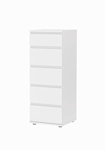 tvilum-bright-5-drawer-narrow-chest-in-white
