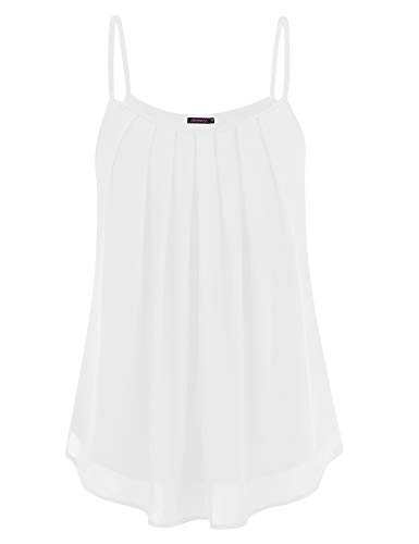 Anmery Casual Summer Sleeveless White ShirtsTunics Blouses Tank Tops for Women M