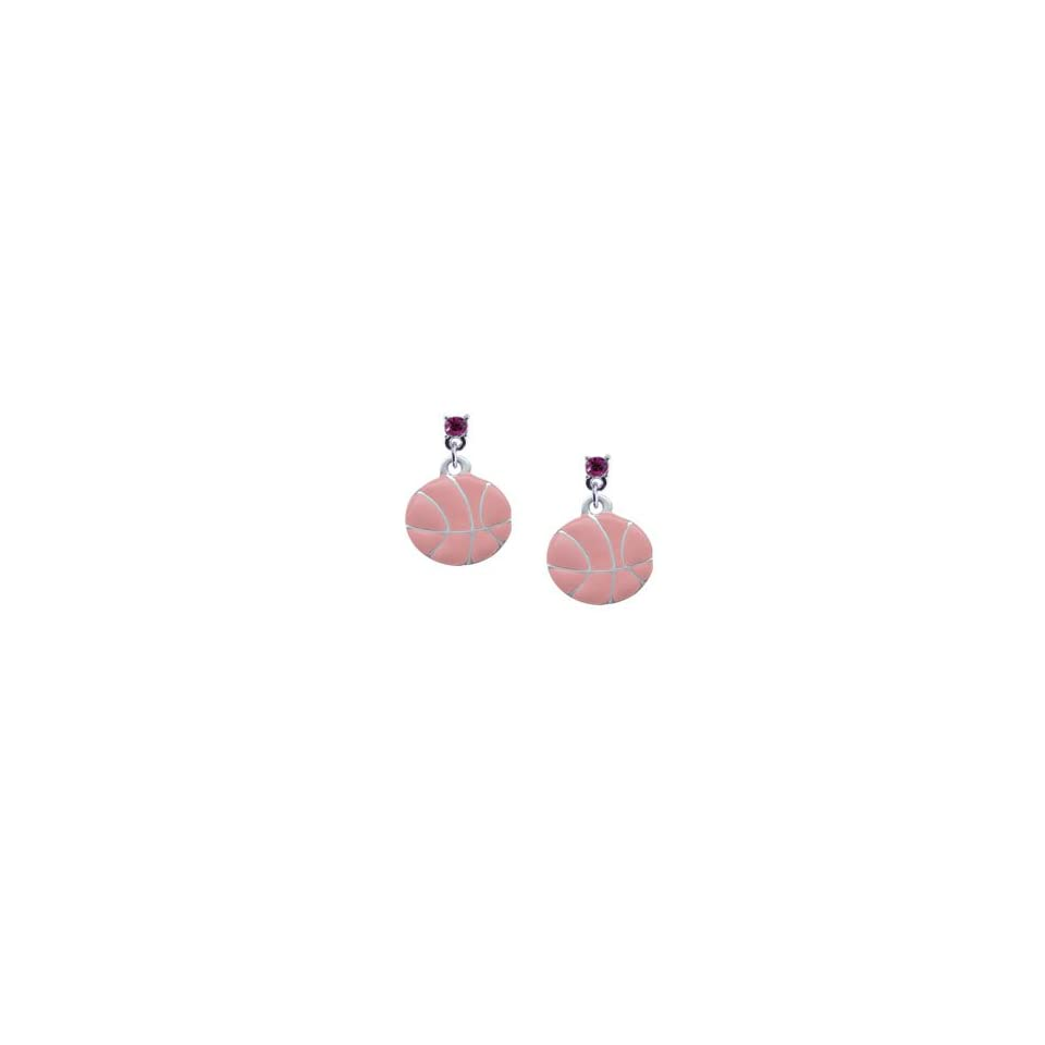Large 2 D Pink Basketball Hot Pink Swarovski Post Charm Earrings [Jewelry]