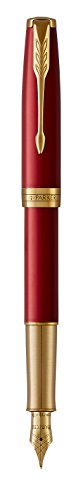 PARKER Sonnet Fountain Pen, Red Lacquer with Gold Trim, Solid 18k Gold Fine Nib by Parker (Image #3)